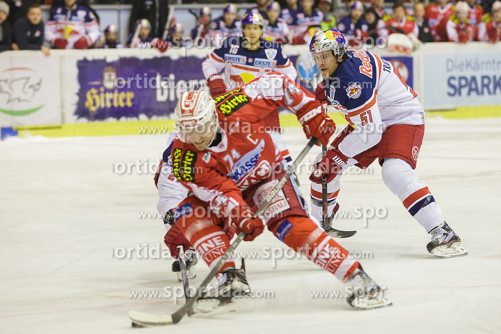 28.02.2016, Stadthalle, Klagenfurt, AUT, EBEL, EC KAC vs EC Red Bull Salzburg, Viertelfinale, 2. Spiel, im Bild Jamie Lundmark (EC KAC, #74), Matthias Tranig (Red Bull Salzburg #51), Ryan Duncan (Red Bull Salzburg #16) // during the Erste Bank Icehockey League 2nd quarterfinal match between EC KAC and EC Red Bull Salzburg at the City Hall in Klagenfurt, Austria on 2016/02/28. EXPA Pictures © 2016, PhotoCredit: EXPA/ Gert Steinthaler