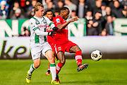 GRONINGEN - 23-10-2016, FC Groningen - AZ, Noordlease Stadion, 0-2,  FC Groningen speler Simon Tibbling, AZ speler Ridgeciano Haps