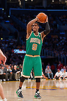 11 March 2012: Guard Rajon Rondo of the Boston Celtics looks to pass the ball against the Los Angeles Lakers during the second half of the Lakers 97-94 victory over the Celtics at the STAPLES Center in Los Angeles, CA.