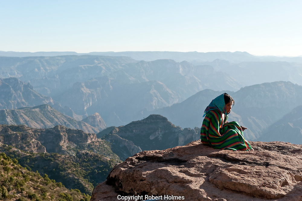 Tarahumara indian on the rim of the Copper Canyon, Mexico