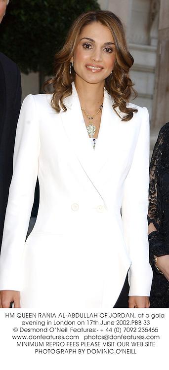 HM QUEEN RANIA AL-ABDULLAH OF JORDAN, at a gala evening in London on 17th June 2002.PBB 33