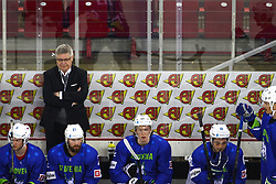 Kari Saovolainen, head coach of Slovenia during Ice Hockey match between National Teams of Slovenia and Poland in Round #2 of 2018 IIHF Ice Hockey World Championship Division I Group A, on April 23, 2018 in Budapest, Hungary. Photo by David Balogh / Sportida