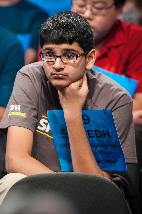 Sumedh Garimella, 14, of Duluth, Georgia, participates in round two of the preliminaries of the Scripps National Spelling Bee on May 28, 2014 at the Gaylord National Resort and Convention Center in National Harbor, Maryland.
