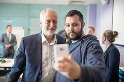 © Licensed to London News Pictures. 22/04/2017. MANCHESTER , UK.  <br /> <br /> Labour Party leader JEREMY CORBYN at Unison offices, Hunts Bank, Manchester today (SATURDAY 22/4/17) as part of the Labour Party's general election campaign. Campaigning has begun for a snap election which was called by British Prime Minister Theresa May, earlier this week.  He talked to activists and manned th ephones to call a member of the public.<br />   <br /> Photo credit: CHRIS BULL/LNP