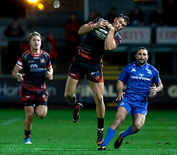 Jared Rosser of Dragons claims the high ball<br /> <br /> Photographer Simon King/Replay Images<br /> <br /> Guinness PRO14 Round 10 - Dragons v Leinster - Saturday 1st December 2018 - Rodney Parade - Newport<br /> <br /> World Copyright © Replay Images . All rights reserved. info@replayimages.co.uk - http://replayimages.co.uk