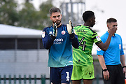 Glenn Morris (1) of Crawley Town applauds the travelling fans at full time after the 3-1 loss during the EFL Sky Bet League 2 match between Forest Green Rovers and Crawley Town at the New Lawn, Forest Green, United Kingdom on 5 October 2019.