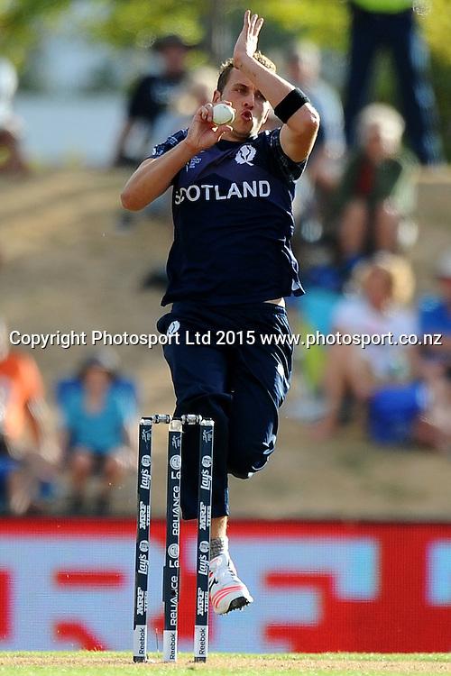 Scotland player Josh Davey during the 2015 ICC Cricket World Cup match between Bangladesh v Scotland. Saxton Oval, Nelson, New Zealand. Thursday 5 March 2015. Copyright Photo: Chris Symes / www.photosport.co.nz