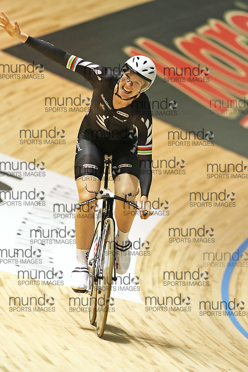 (Melbourne, Australia--- 08 April 2012)  Alison Shanks of New Zealand celebrates winning a gold medal in the women's individual pursuit at the 2012 UCI Track Cycling World Championships, held at the Hisense Arena. Copyright 2012 Sean Burges / Mundo Sport Images.