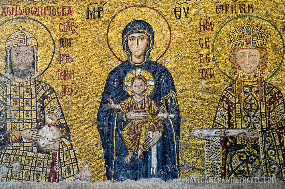 A depiction of Christ in Hagia Sophia. Originally built as a Christian cathedral, then converted to a Muslim mosque in the 15th century, and now a museum (since 1935), the Hagia Sophia is one of the oldest and grandest buildings in Istanbul. For a thousand years, it was the largest cathedral in the world and is regarded as the crowning achievement of Byzantine architecture.