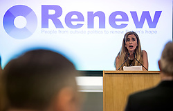 © Licensed to London News Pictures. 19/02/2018. London, UK. SANDRA KHADHOURI, (head of communications),  speaking at the launch event for Renew, a new anti-Brexit political party, at the Queen Elizabeth II Conference Centre in London. The Renew party, which is taking advice from representatives of Emmanuel Macron's En Marche, has recruited some 220 candidates to stand in local and national elections. Photo credit: Ben Cawthra/LNP