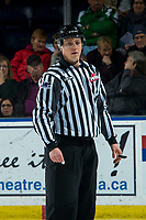KELOWNA, BC - JANUARY 8: Line official Jade Portwood stands on the ice at the Kelowna Rockets against the Victoria Royals at Prospera Place on January 8, 2020 in Kelowna, Canada. (Photo by Marissa Baecker/Shoot the Breeze)