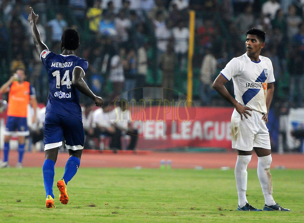 John Stiven Mendoza Valencia of Chennaiyin FC celebrates a goal during match 15 of the Hero Indian Super League between Chennaiyin FC and Mumbai City FC held at the Jawaharlal Nehru Stadium, Chennai, India on the 28th October 2014.<br /> <br /> Photo by:  Pal Pillai/ ISL/ SPORTZPICS