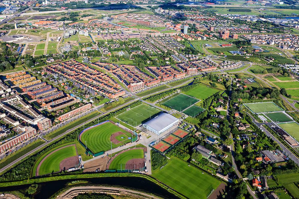 Nederland, Utrecht, Vleuten-De Meern, 15-07-2012; Leidsche Rijn, zicht Sportpark Alendorp..Sports park in a new residential district in Utrecht (central Netherlands)..luchtfoto (toeslag), aerial photo (additional fee required).foto/photo Siebe Swart