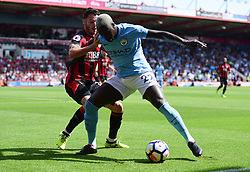 Benjamin Mendy of Manchester City shields the ball from Adam Smith of Bournemouth - Mandatory by-line: Alex James/JMP - 26/08/2017 - FOOTBALL - Vitality Stadium - Bournemouth, England - Bournemouth v Manchester City - Premier League