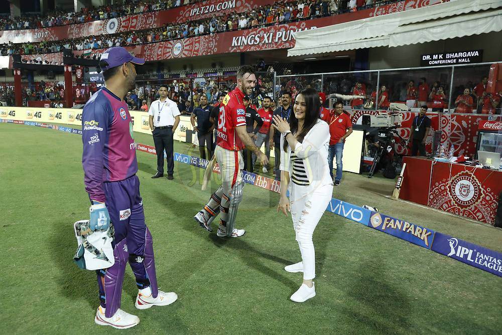 Rising Pune Supergiant  MS Dhoni  and Glenn Maxwell chat with Preity Zinta owner of Kings XI Punjab after the match 4 of the Vivo 2017 Indian Premier League between the Kings X1 Punjab and the rising Pune Supergiant held at the Holkar Cricket Stadium in Indore, India on the 8th April 2017<br /> <br /> Photo by Arjun Singh - IPL - Sportzpics