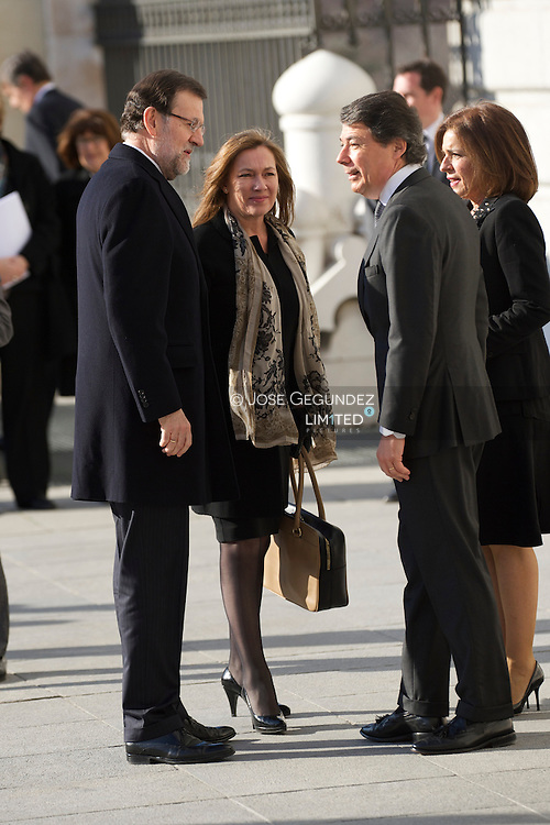 Prime Minister Mariano Rajoy and wife Elvira 'Viri' Fernandez Balboa attend Solemn Mass honoring and remembering the victims of the 10th annivrsary of the terrorist attacks of March 11, 2004 at Almudena Cathedral on March 11, 2014 in Madrid