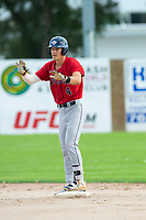 KELOWNA, BC - JULY 16: Dalton Harum #4 of the Wenatchee Applesox stands safe at secone base against the the Kelowna Falcons at Elks Stadium on July 16, 2019 in Kelowna, Canada. (Photo by Marissa Baecker/Shoot the Breeze)