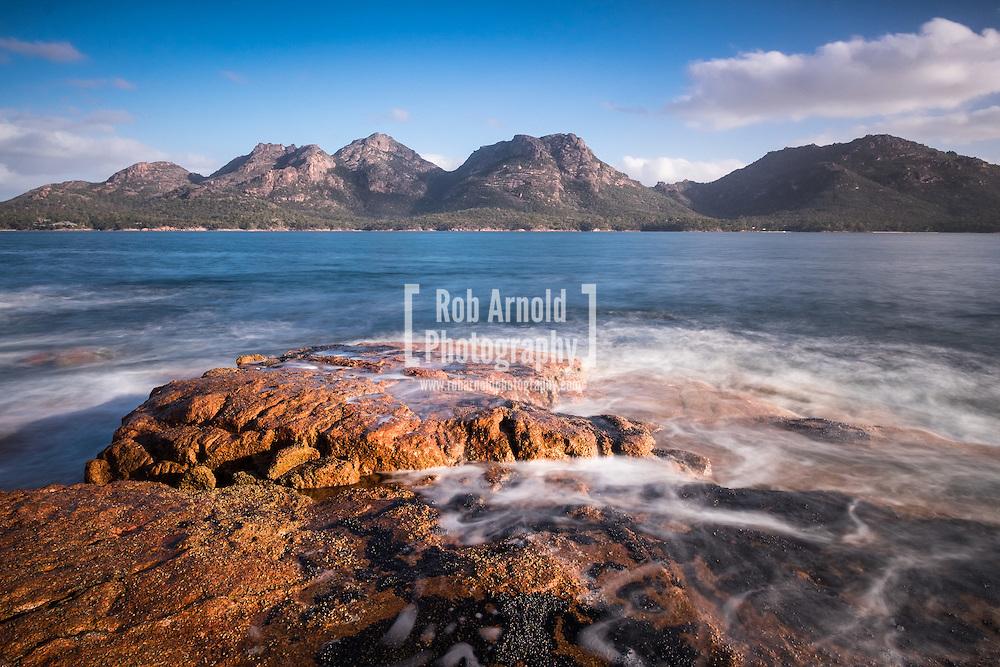 The Hazards mountain range in Freycinet National Park on Tasmania's eastern coast