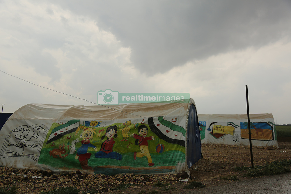 "May 3, 2017 - The ""Tilal As-Sham"" camp is one of the camps for internally displaced people and is located north of the Syrian city of Azaz. Although the camp offers extremely limited resources to its residents, its most colourful tents  are being used as a school for the children of the camp.  Azaz is a city located in the Aleppo countryside, near the border with Turkey (Credit Image: © Juma Muhammad/ImagesLive via ZUMA Wire)"