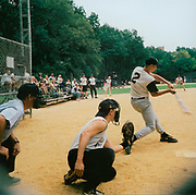 Group playing baseball, USA, 1990's