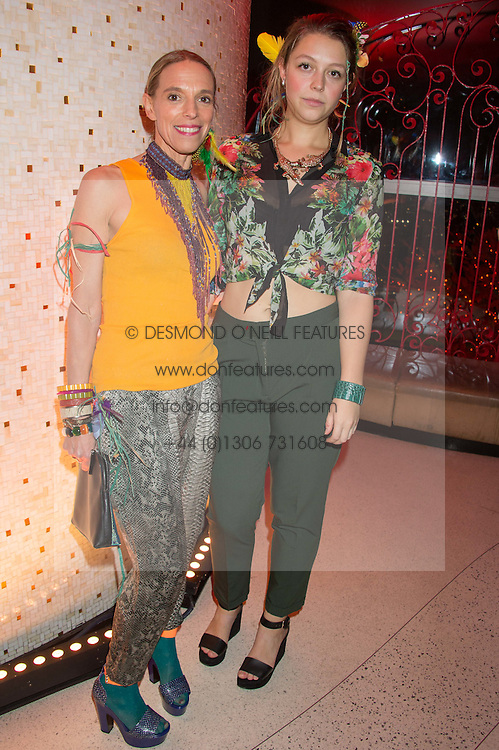Left to right, TIPHAINE DE LUSSY and her daughter SERAPHINE CHAPMAN at the 3rd anniversary party of Sushisamba at the Heron Tower, 110 Bishopsgate, City of London on 10th November 2015.