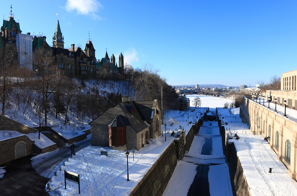 Rideau Canal Locks in downtown Ottawa on January 21, 2010. The locks are located off Ottawa River in downtown Ottawa, ON, the capital of Canada between the Parliament Hill and Chateau Laurier Fairmont Hotel.