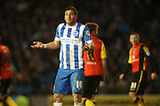 Brighton striker, Tomer Hemed (10) questions the referees assistant during the Sky Bet Championship match between Brighton and Hove Albion and Birmingham City at the American Express Community Stadium, Brighton and Hove, England on 28 November 2015.