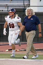 {BLOOMINGTON, IL:  River Shindledecker and JEFF PELTZ during a college football game between the IWU Titans  and the Wheaton Thunder on September 15 2018 at Wilder Field in Tucci Stadium in Bloomington, IL. (Photo by Alan Look)