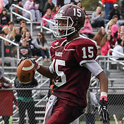 Concord wide receiver Jared Hill (15) catches a pass in the end zone to complete the two point conversion late in the fourth quarter Saturday, Oct. 17, 2015 at Concord Stadium in Wilmington.