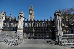 © Licensed to London News Pictures. 09/04/2017. London, UK.  Carriage gate closed, at The Houses of Parliament on the day that the coffin of PC Keith Palmer arrived at Chapel of St Mary Undercroft within the Palace of Westminster, ahead of his funeral tomorrow (Mon). PC Palmer was killed in a terror attack when Khalid Masood drove a car at pedestrians over Westminster Bridge and then attempted to enter Parliament with a knife. Photo credit: Tolga Akmen/LNP