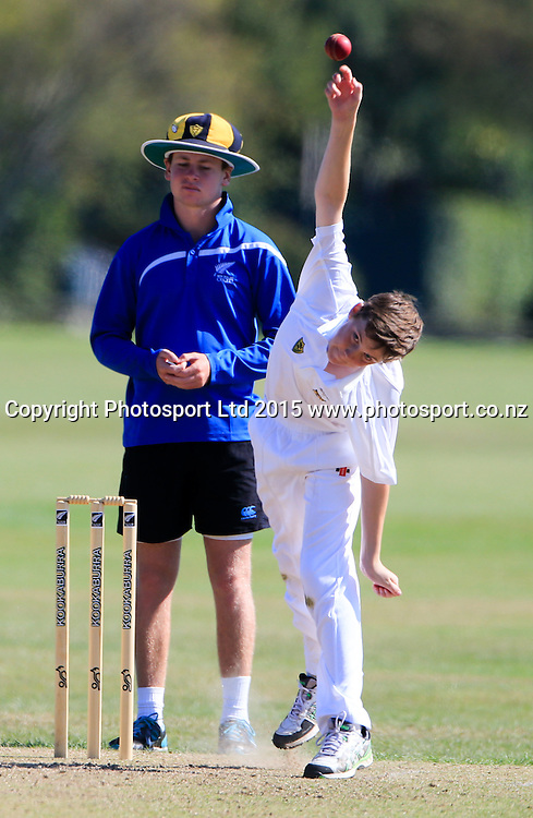 Christchurch Boys High v Wellington College. NZCT Junior Secondary School Boys' National cricket finals, Fitzherbert Park, Palmerston North, New Zealand. Friday 27 March, 2015. Copyright photo: John Cowpland / www.photosport.co.nz