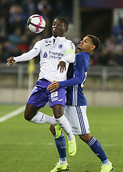 November 3, 2018 - Strasbourg, France - Gradel Max, Kenny Lala, during the French Ligue 1 football match between Strasbourg (RCSA) and Toulouse (TFC) on November 3, 2018 at the Meinau stadium in Strasbourg, eastern France. (Credit Image: © Elyxandro Cegarra/NurPhoto via ZUMA Press)
