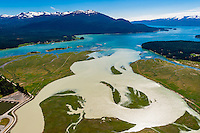 Aerial Bay, Auke Bay, Juneau, Alaska USA.