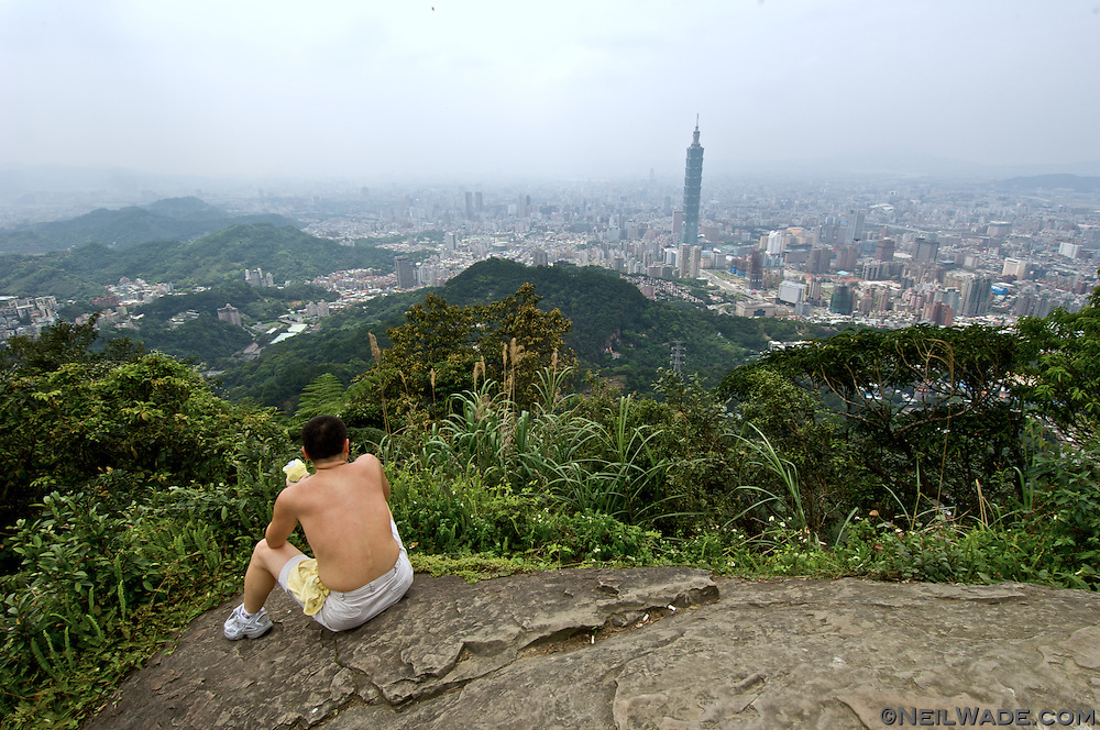 """95 Peak"" is a small mountain next to Taipei, Taiwan.  It's ans easy climb from the city center and has beautiful views."