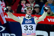 Rune Velta of Norway celebrates after his second jump during FIS World Cup Ski Jumping in Wisla...Poland, Wisla, January 09, 2013...Picture also available in RAW (NEF) or TIFF format on special request...For editorial use only. Any commercial or promotional use requires permission...Photo by © Adam Nurkiewicz / Mediasport