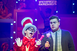 "© Licensed to London News Pictures. 23/11/2018. LONDON, UK. (L to R) Mark Pickering as Cat in the Hat and Scott Paige as Horton the Elephant perform during the photocall for Immersion Theatre's performance of ""Seussical the Musical"" at Southwark Playhouse.  Shows take place 22 November to 29 December 2018.  Directed by James Tobias, the fantastical world of Dr. Seuss is brought to life in a musical co-conceived by Monty Python's Eric Idle.  Photo credit: Stephen Chung/LNP"