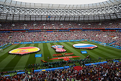 MOSCOW, RUSSIA - Sunday, July 1, 2018: A general view of the stadium as Spain and Russia flags laid out on the pitch before the FIFA World Cup Russia 2018 Round of 16 match between Spain and Russia at the Luzhniki Stadium. (Pic by David Rawcliffe/Propaganda)