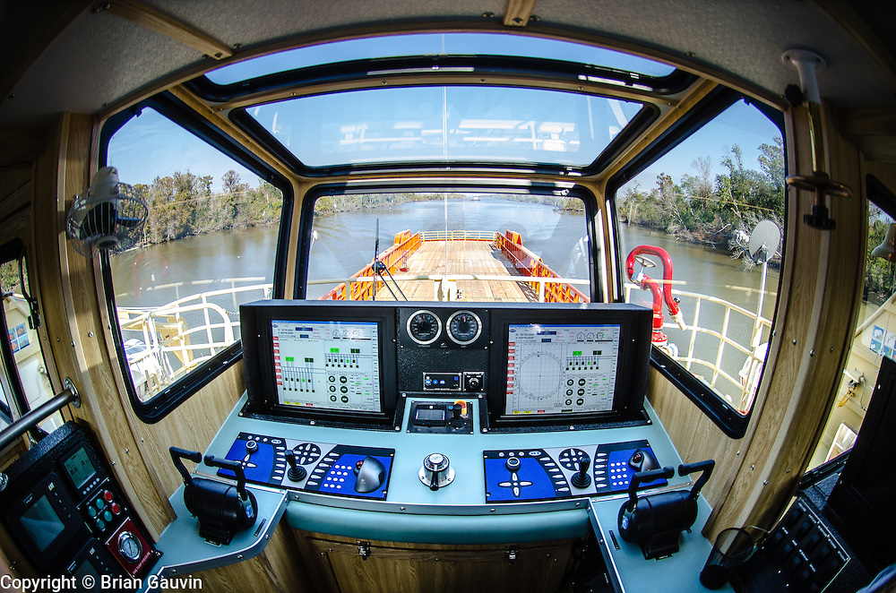 Aft controls by ZF Mathers Clear Command electronic controls. 194-foot, fast/supply boat, built for Edison Chouest Offshore by Breaux Brothers on sea trials - IGCW - Houma Navigation Canal and Gulf of Mexico.