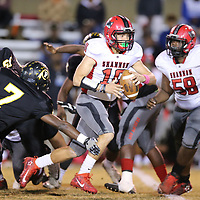 Shannon quarterback Jordan Gulleylen put the Red Raiders on the board in the first half but they failed on their two point conversion and found themselves behind 7-6 at the half against Pontotoc.