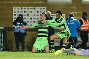 Forest Green Rovers Christian Doidge(9) scores a goal 2-1 and celebrates during the Vanarama National League match between Forest Green Rovers and Solihull Moors at the New Lawn, Forest Green, United Kingdom on 21 March 2017. Photo by Shane Healey.