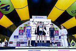 August 4, 2018 - Krakow, Poland - The winner, Pascal Ackermann, second Alvaro Hodeg and third Matteo Trentin stand on the podium after the first stage of Tour the Pologne in Krakow, Poland on August 4, 2018. (Credit Image: © Dominika Zarzycka/NurPhoto via ZUMA Press)