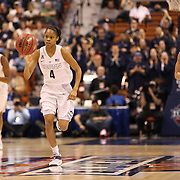 Moriah Jefferson, UConn, in action during the UConn Huskies Vs USF Bulls Basketball Final game at the American Athletic Conference Women's College Basketball Championships 2015 at Mohegan Sun Arena, Uncasville, Connecticut, USA. 9th March 2015. Photo Tim Clayton