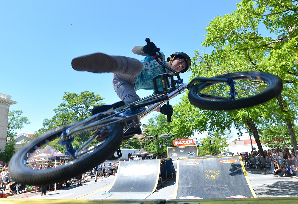 Nathan Mcallister competes in the Trans Jam BMX competition on Saturday, April 26, 2014 in downtown Athens, Ga.