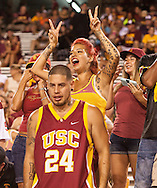 Arizona State University and University of Southern California in a football game on September 26, 2015 in Tempe, AZ.  USC won 42 to 14.  At half, USC led 35 to 0.