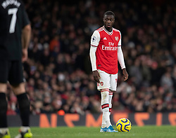 LONDON, ENGLAND - Thursday, December 5, 2019: Arsenal's Nicolas Pépé prepares to take a free-kick during the FA Premier League match between Arsenal FC and Brighton & Hove Albion FC at the Emirates Stadium. (Pic by Vegard Grott/Propaganda)