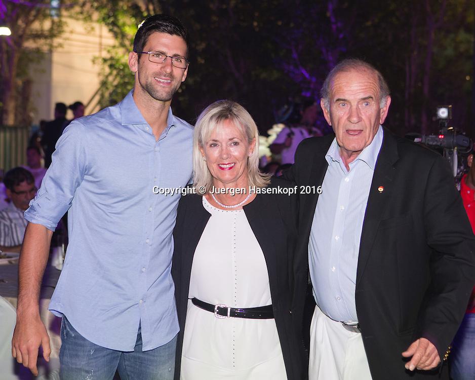 Dubai ATP Players Party,Novak Djokovic (SRB) und Dubai Duty Free Chef Colm McLoughlin mit Ehefrau Breeda,<br /> <br /> Tennis - Dubai Duty Free Tennis Championships - ATP -   - Dubai -  - United Arab Emirates  - 23 February 2016. <br /> &copy; Juergen Hasenkopf