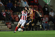 ean Long and Harry Pritchard  during the EFL Sky Bet League 2 match between Cheltenham Town and Bradford City at Jonny Rocks Stadium, Cheltenham, England on 17 September 2019.