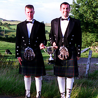 Drew Christie and Derek Brown (right), who have been banned from theScottish Clay Target Association for wearing kilts to an awards presentation.<br />