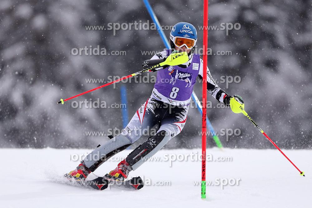 05.01.2014, Stelvio, Bormio, ITA, FIS Ski Alpin Weltcup, Salom, Damen, 1. Durchgang, im Bild Bernadette Schild // Bernadette Schild in action during 1st run of ladies Slalom of the Bormio FIS Ski World Cup at the Stelvio Course in Bormio, Italy on 2014/01/05. EXPA Pictures &copy; 2014, PhotoCredit: EXPA/ Sammy Minkoff<br /> <br /> *****ATTENTION - OUT of GER*****