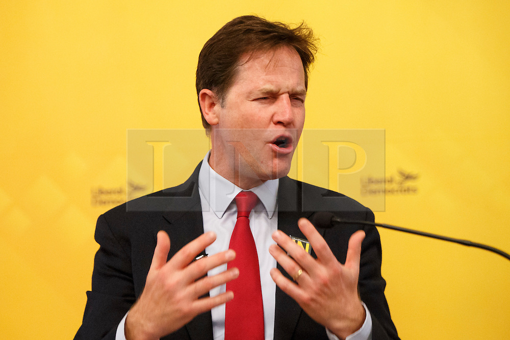 © Licensed to London News Pictures. 03/06/2016. London, UK. Former Deputy Prime Minister and former leader of Liberal Democrats NICK CLEGG delivers a speech on the EU referendum at National Liberal Club in London on 3 June 2016. Photo credit: Tolga Akmen/LNP